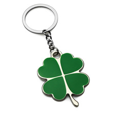 Stainless High Quality Green Leaf Keychain Fashion Creative Beautiful Four Clover Steel Lucky Key Ch