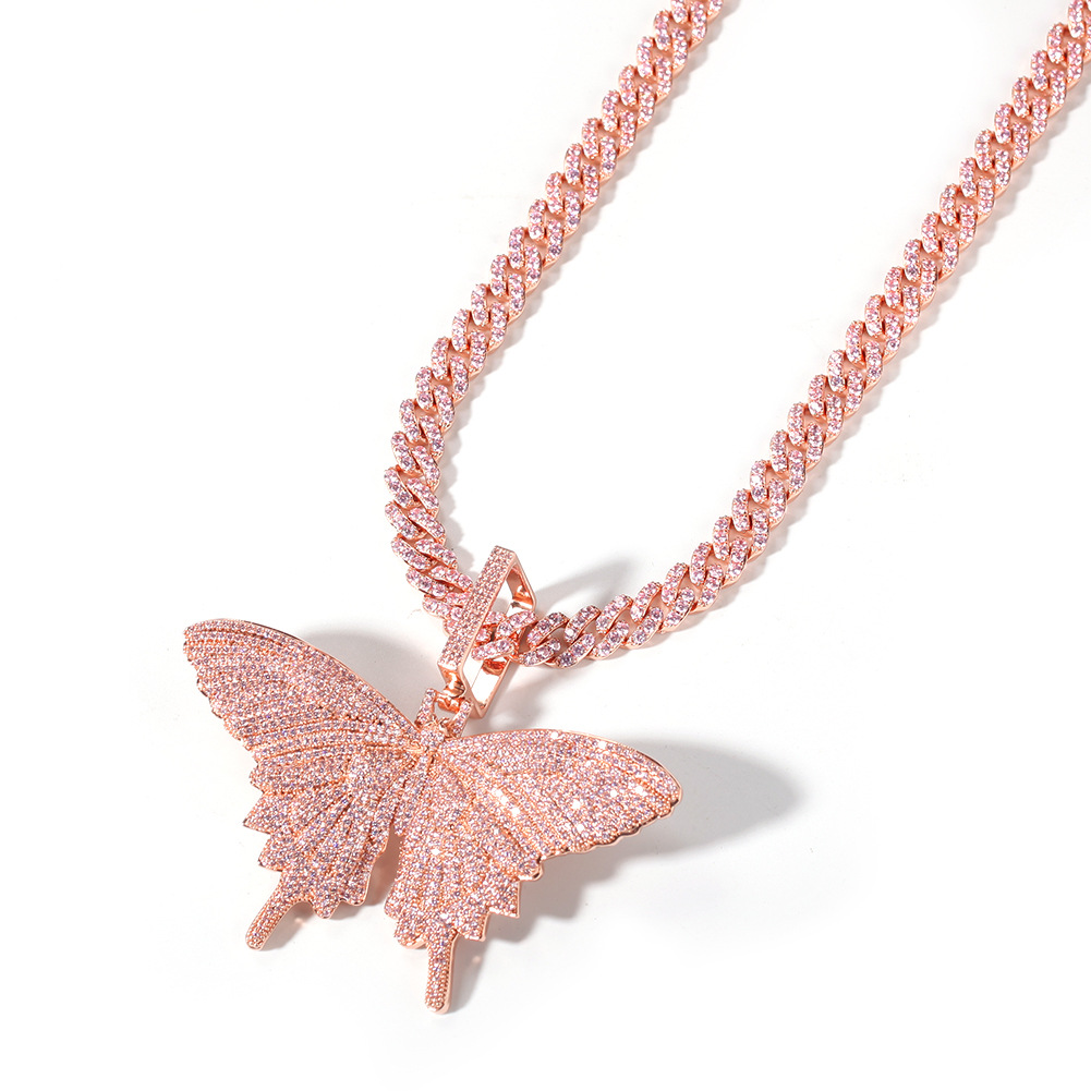 Men's Iced Out Big Pink Butterfly Pendant Cubic Zirconia Necklace Hip Hop...
