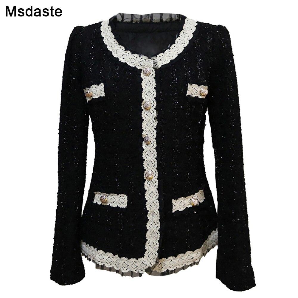Mulher blazers feminino 2019 outono paillette senhora jaquetas e casacos blaser femme chaqueta mujer jaqueta feminina preto branco