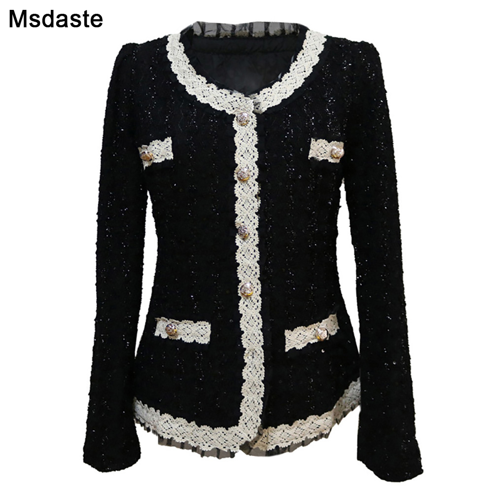 Women Blazers Feminino 2019 Autumn Paillette Lady Jackets And Coats Blaser Femme Chaqueta Mujer Jaqueta Feminina Black White