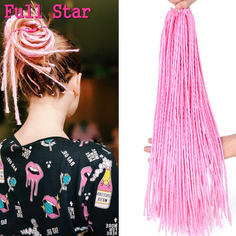 """Completa estrela dreadlocks sintéticos 1 pacote 22 """"extremidades duplas 100 g/pacote preto borgonha rosa loira crochê tranças de cabelo para mulher"""