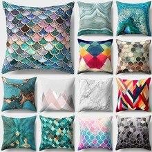1 Uds con diseño de escamas de sirena de poliéster funda de almohada cojín decoración para hogar y coche sofá cama funda de almohada decorativa 40507