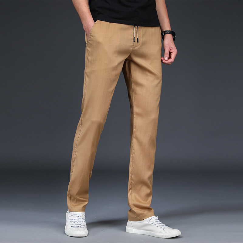 Men Pants Casual Elastic Waist Long Trousers Mens Lightweight Pencil Pants Spring summer Jogger pant black green khaki blue
