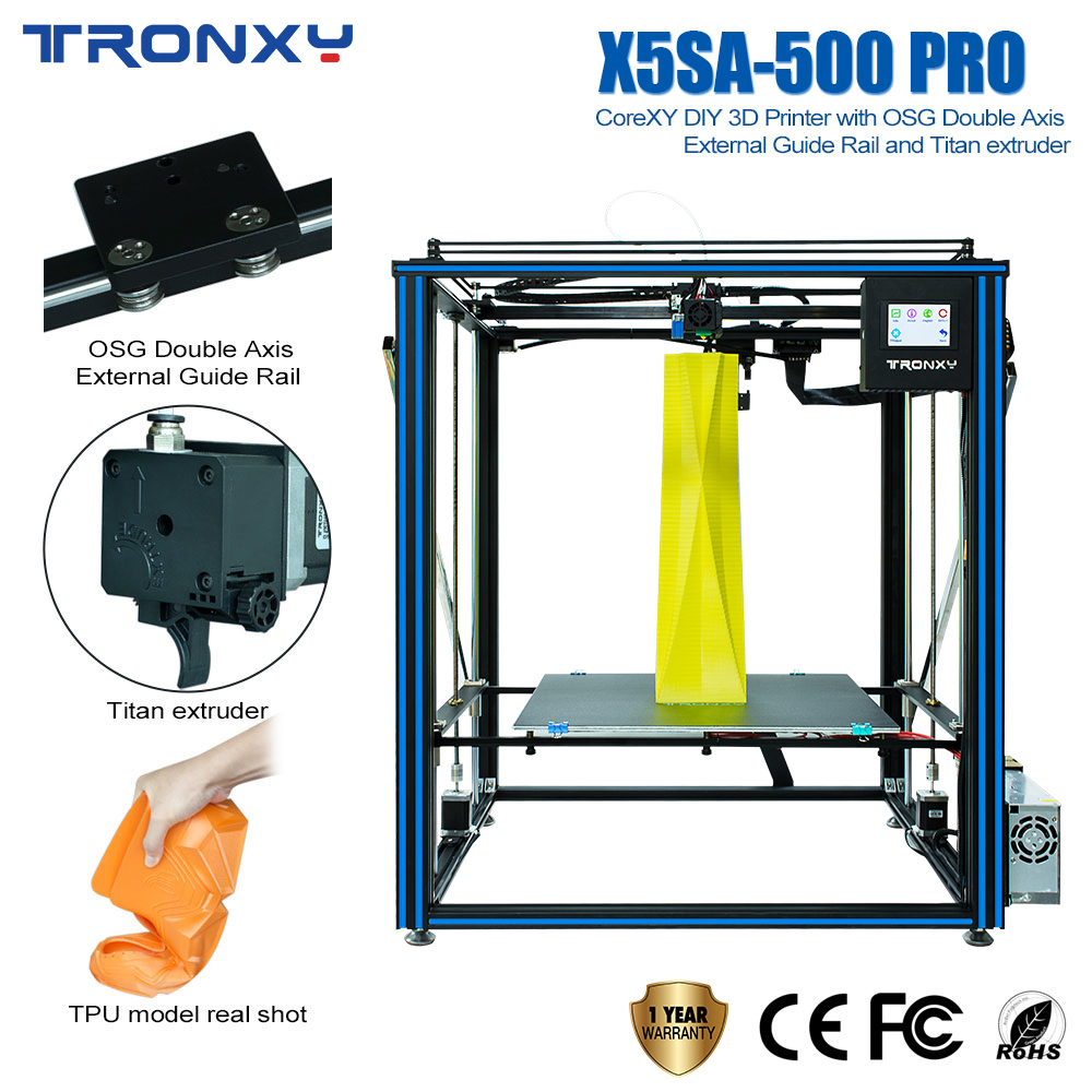 2019 TRONXY X5SA-<font><b>500</b></font>-PRO DIY <font><b>3D</b></font> <font><b>Printer</b></font> Larger Size Ultra-quiet Motherboard Break Detection Auto Leveling image