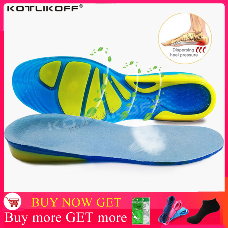 KOTLIKOFF Silicon Gel Insoles Foot Care For Plantar Fasciitis Orthopedic Massaging Shoe Inserts Shock Absorption Shoe Pad Unisex