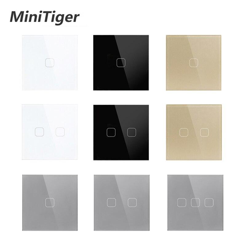 Interruptor de toque do painel de vidro de cristal branco padrão da ue/reino unido interruptor de toque, ac220v, 1/2/3 gang 1 maneira, interruptor de tela de toque de parede de luz da ue