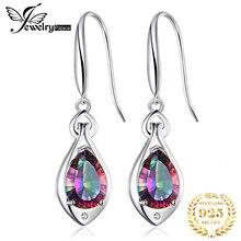 6.8ct Rainbow Fire Mystic Topaz Dangle Earrings 925 Solid Sterling Silver Tear Drop Gemstone Jewelry Wedding Charm StylishGift