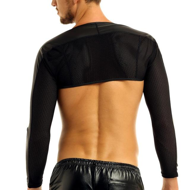 MSemis Sexy Lingerie Clubwear Men Faux Leather Top Hot Bondage T-Shirts Gay Leather Harness Arm Warmers Mens Costumes 2
