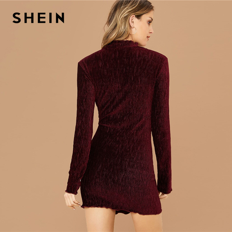 SHEIN Burgundy Mock-neck Lettuce Edge Velvet Bodycon Dress Women Spring Long Sleeve Glamorous Office Lady Pencil Mini Dresses 2