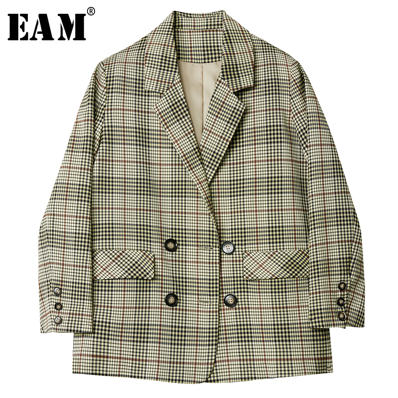 [EAM]  Women Gray Green Plaid Temperament Blazer New Lapel Long Sleeve Loose Fit  Jacket Fashion Tide Spring Autumn 2019 1D441