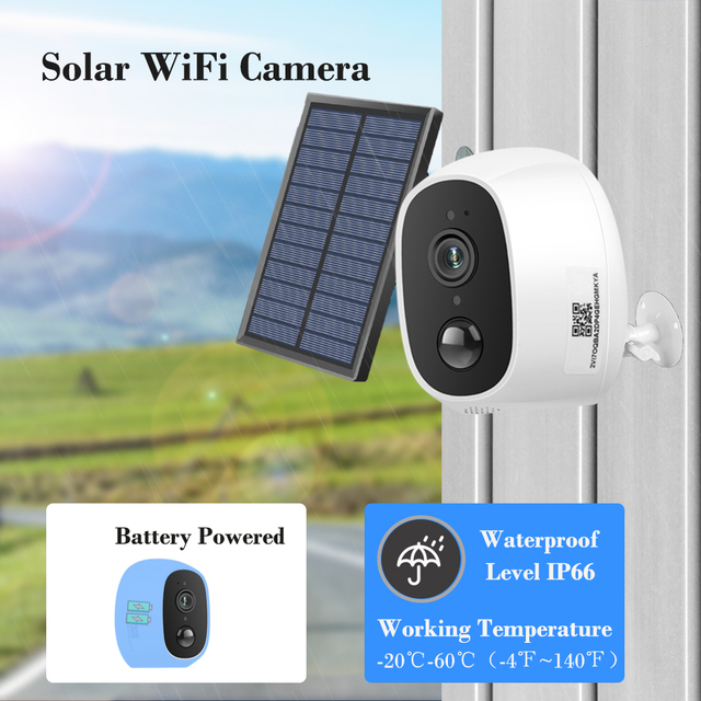 Solar Power Charging Wireless WiFi Camera 1080P 2MP HD Outdoor Security IP Camera Surveillance External Solar Panel 4