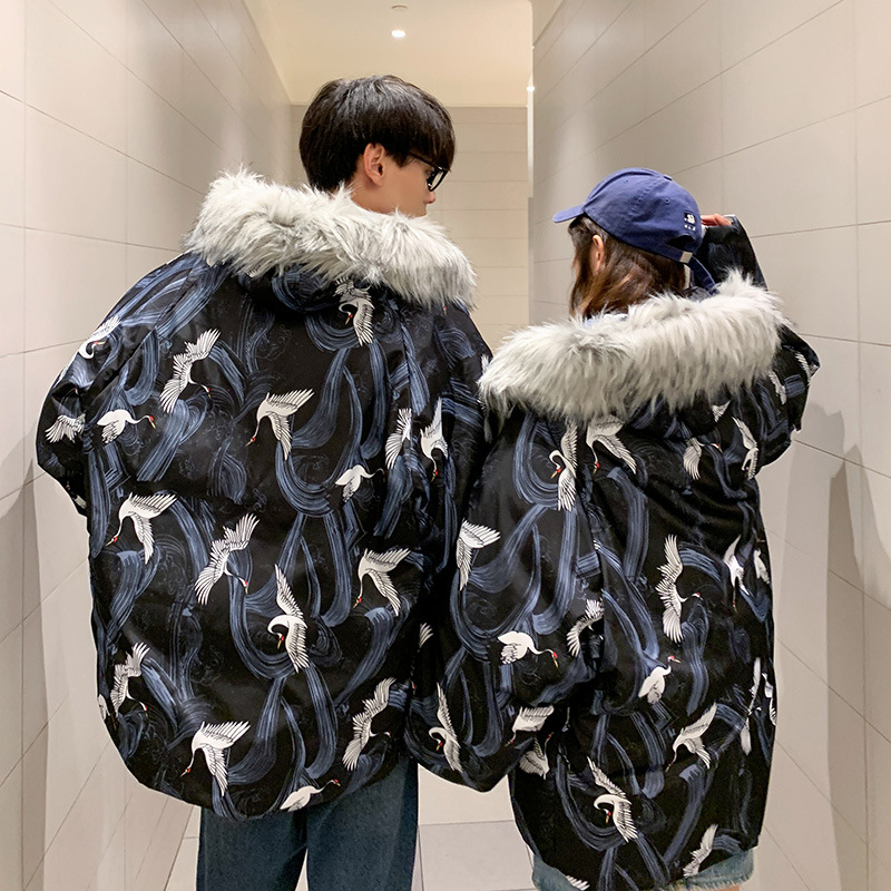 2019 Winter New Style Couples Crane Loose-Fit Padded Cotton-padded Clothes Removable Shoulder Fur Collar Men And Women Cotton Co