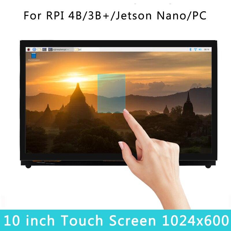 10 Inch LCD For Raspberry Pi 4 Model B 1024x600 Touch Screen Capacitive Display For Raspberry Pi 4B/3B+/3B PC Jetson Nano
