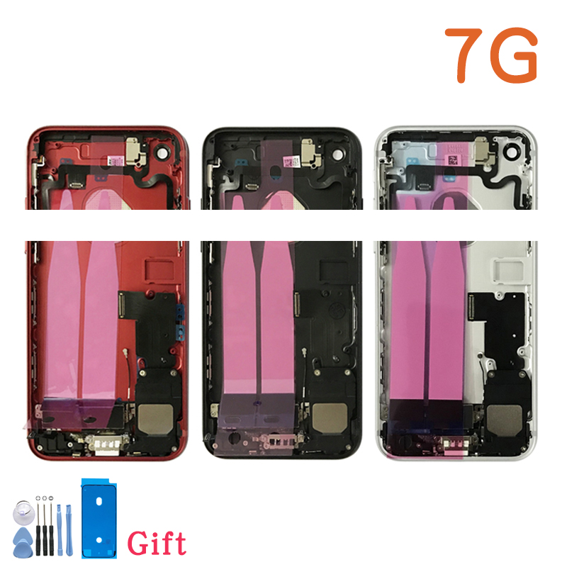 Capa traseira completa para iphone 7 7g ou 7 plus habitação porta da bateria meio chassis quadro caixas montagem porta traseira com cabo flexível|Estojos de celular|   -