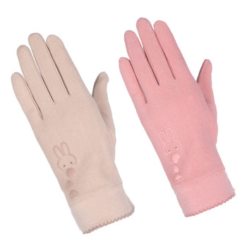 Autumn and Winter Rabbit Wool Gloves Female Outdoor Cycling Fashion Windproof Warm Cute Handschoenen Driving New