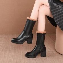 Женские ботинки из натуральной кожи; Зимние уличные теплые на