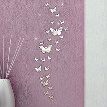 30PC Butterfly 3D Mirror Wall Stickers Home Room Background Wall Window Glass Decoration Crafts House Kids DIY Mural Decal(China)