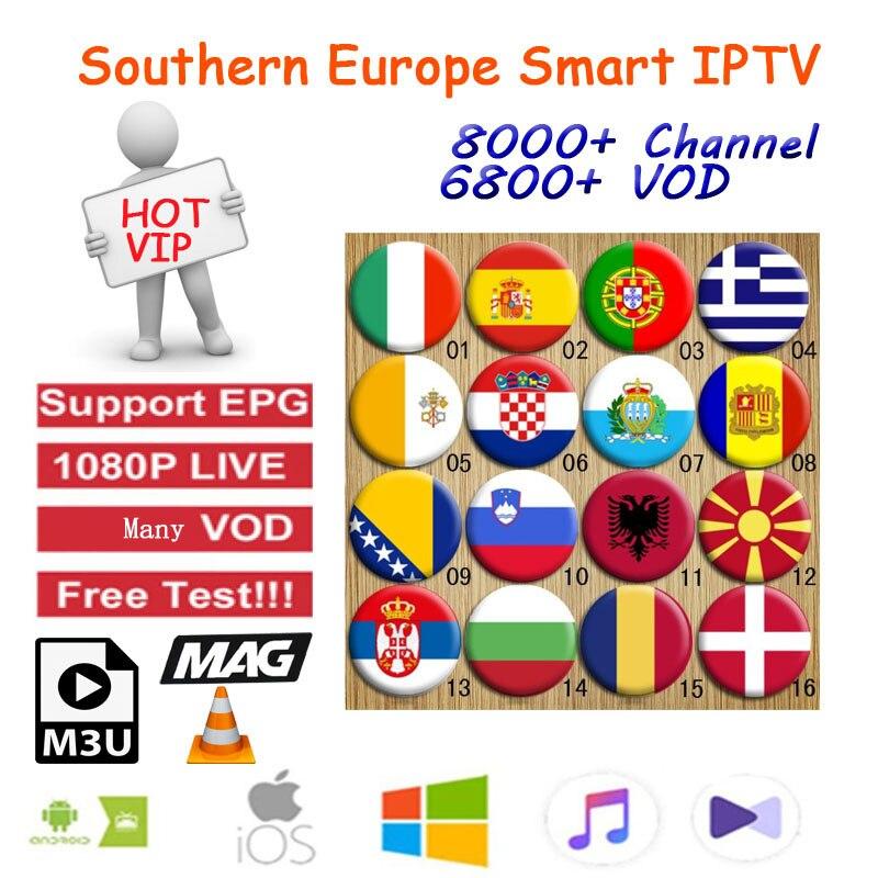 Southern Eurpoean Iptv 8000+  Live Subscription Ssmart Android Box Europe  For  France Spanish Portugal Italian Albania M3u MA9