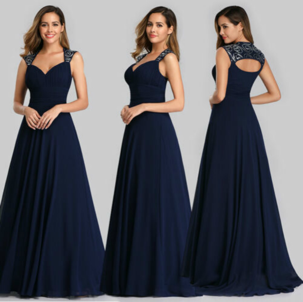 Blue Country Bridesmaid Dresses For Wedding Long Chiffon A-Line Backless Formal Dresses Party Lace Modest Maid Of Honor Dress