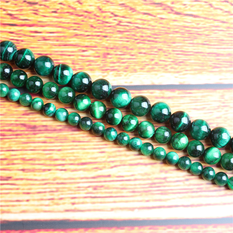 Green Tiger Natural Stone Bead Round Loose Spaced Beads 15 Inch Strand 4/6/8 / 10mm For Jewelry Making DIY Bracelet Necklace