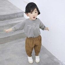 Комбинезон на лямках для мальчиков, новые стильные детские брюки на весну и осень, 3 Повседневные детские штаны, свободные спортивные штаны из парусины для детей 1-6 лет
