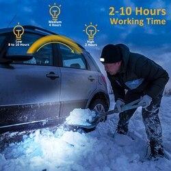 2 szt. LED Beanie Cap oświetlony USB akumulator czapka ciepły zimowy czapka z dzianiny do uprawiania turystyki rowerowej Camping