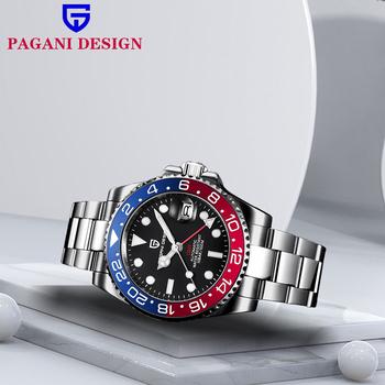 PAGANI DESIGN GMT zegarek męski automatyczny zegarek mechaniczny 40MM luksusowe szafirowe szkło ze stali nierdzewnej wodoodporny zegarek Pagani 100M tanie i dobre opinie 10Bar CN (pochodzenie) Składane bezpieczne zapięcie BIZNESOWY Mechaniczna nakręcana wskazówka Samoczynny naciąg 21cm