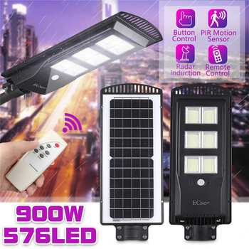 LED Solar Street Light 900W IP65 Waterproof Outdoor Lighting with Remote Control for Plaza and Garden 2835smd Solar Wall Lamp
