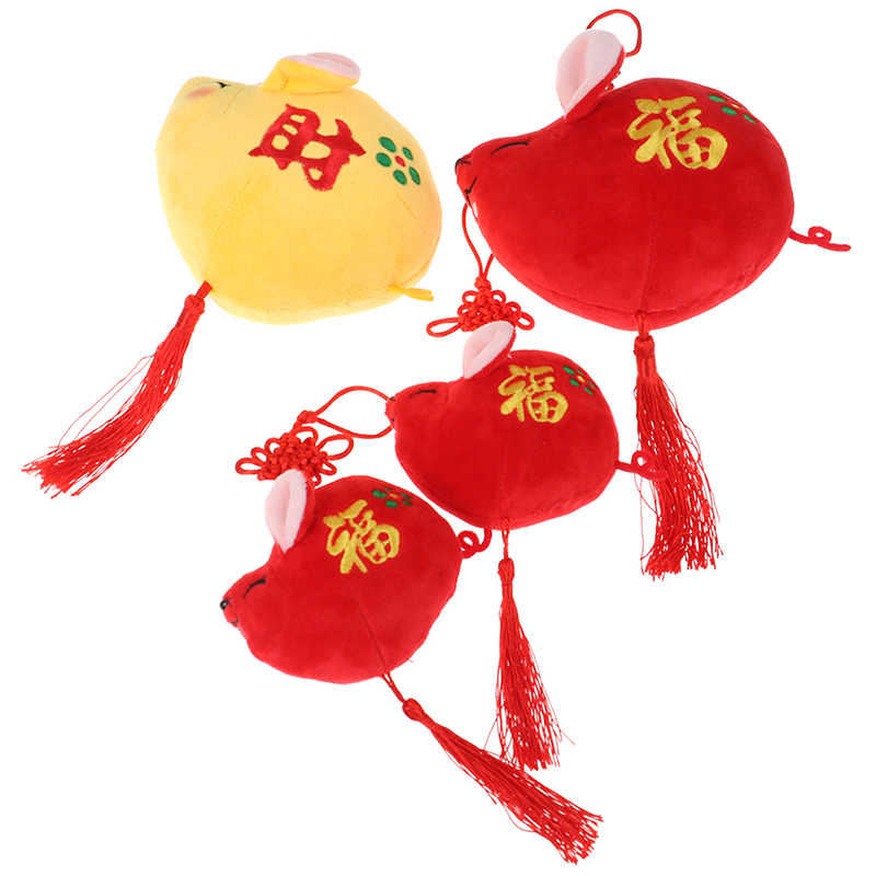 2020 ano novo de pelúcia rato ano mascote brinquedo pingente pelúcia vermelho mouse em tang terno brinquedos macios chinês ano novo festa decoração presente