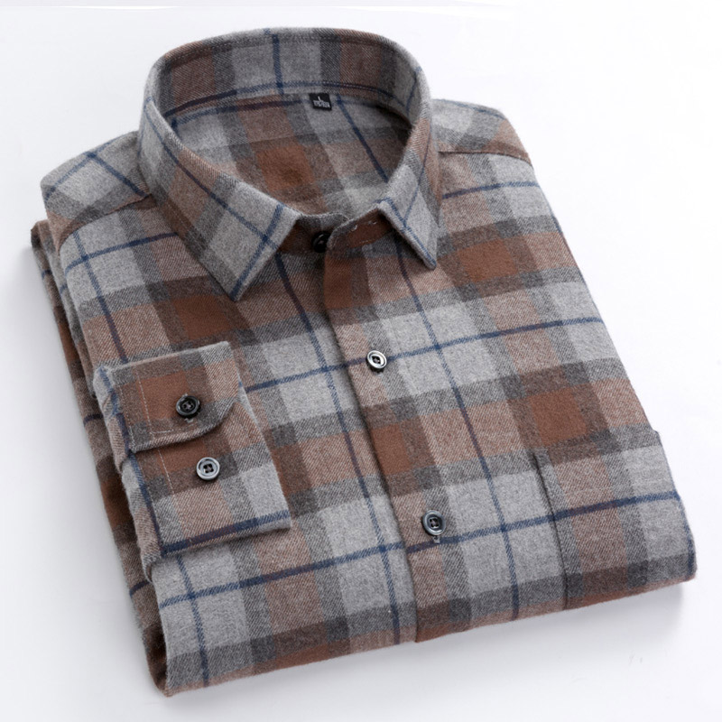 High Quality 100% Cotton Long Sleeves Plaid Shirts Flannel Autumn Warm Turn-down Collar Casual Comfortable Shirts Male Tops