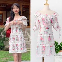 Shoulder Broken flowers Dress for women DEL LUNA Hotel same IU Lee Ji Eun in summer temperament woman TV Korean dress