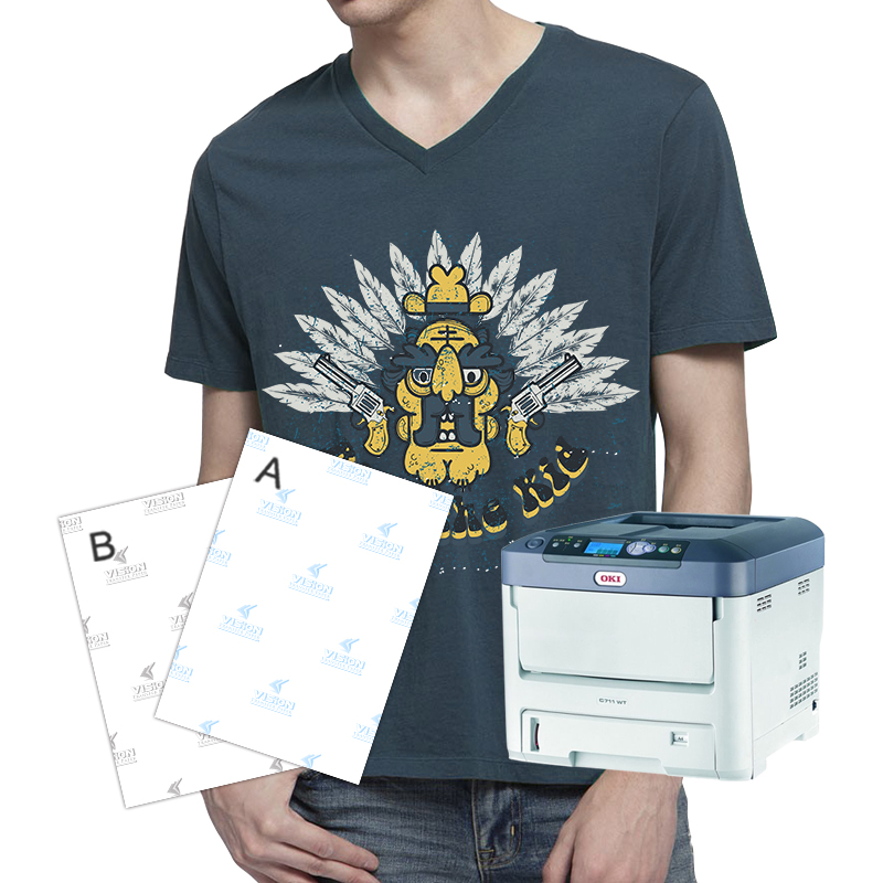 A+B Laser Dark No Cut Heat Transfer Paper A4 Self Weeding Thermal Paper Transfer For Black T-shirt 20sheets/bag