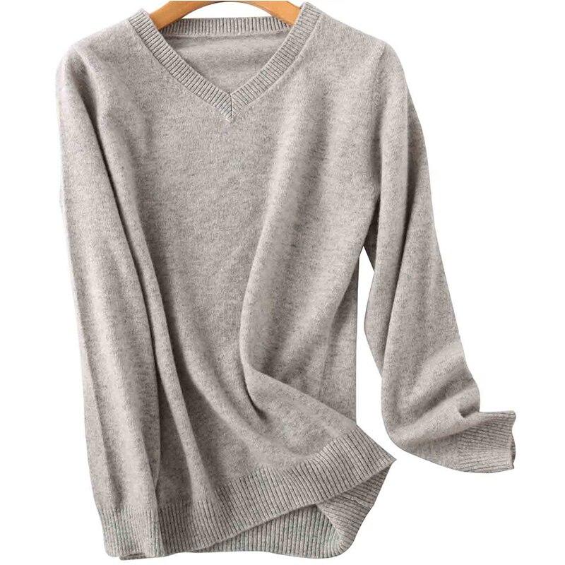 100% Merino Wool Women V-Neck Sweater 2020 Autumn Winter Warm Soft knitted Pullover Femme Jumper Women Cashmere Sweater 8