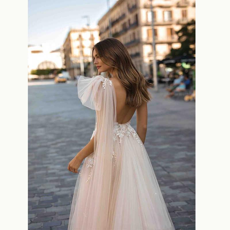 Sevintage Berta Bohemian งานแต่งงาน Boho Lace Appliqued งานแต่งงานชุดหนึ่งไหล่ชายหาดชุดเจ้าสาว Vestido De Novia