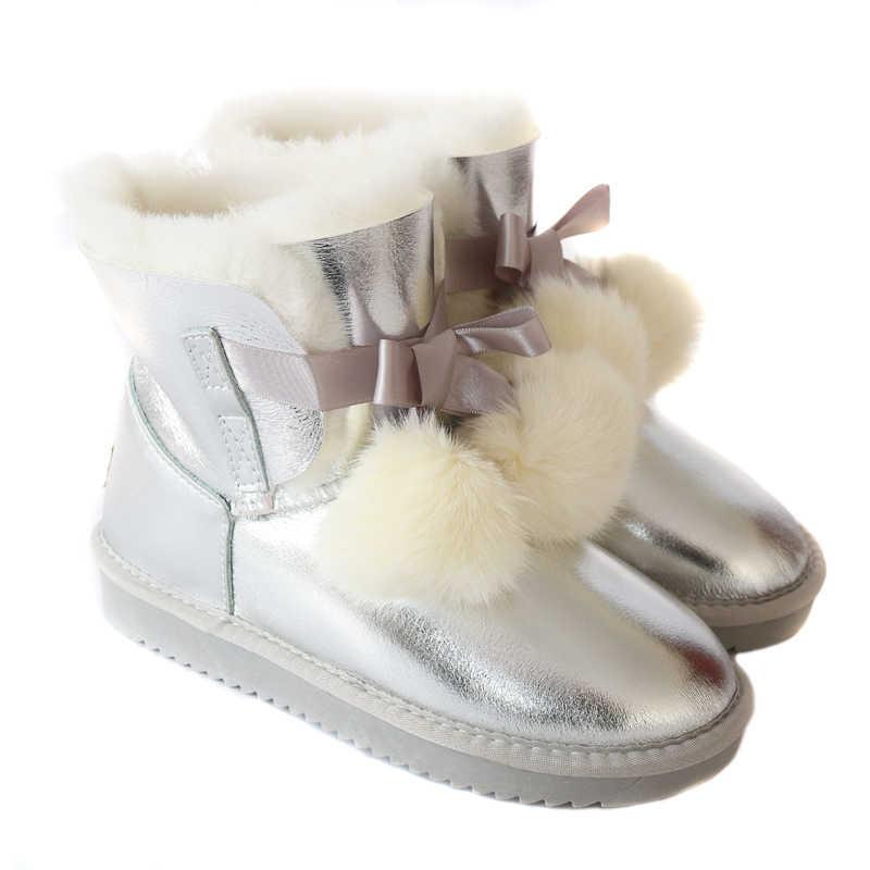 G & ZACO หนังแท้ Sheepskin รองเท้าผู้หญิงแกะขนสัตว์ผู้หญิงรองเท้ากันน้ำรองเท้าบูทฤดูหนาวรองเท้าหนังโบว์ Fox ball รองเท้า
