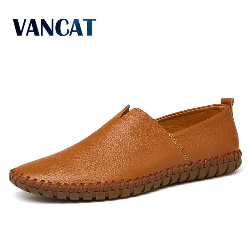 2020 New Split Leather Casual Shoes Fashion Loafers High Quality Men's Shoes Men Driving Shoes Moccasins Slip On Platform Flats