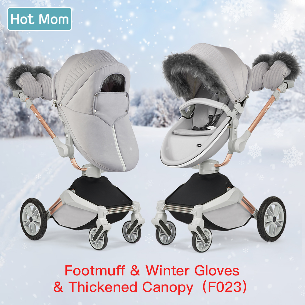 Hot Mom F023 /F22 Stroller Accessories Winter Outkit With Footmuff & Winter Gloves Thickened Canopy