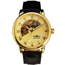 Men Mechanical Watches Top Brand Luxury Gold Watches Men Fashion Skeleton Watch Leather Strap Mechanical Hand Wind Watch reloj все цены