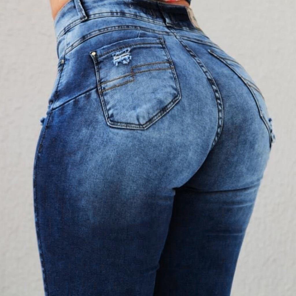 High Waist Jeans For Women Slim Stretch Denim Jean Slim Stretch Fake Pocket Skinny Push Up Jeans Woman D#
