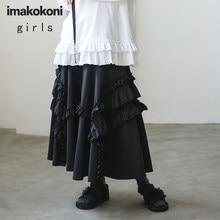 Imakkokoni saia de renda preta design original doce simples solta longa saia feminina verão 192611