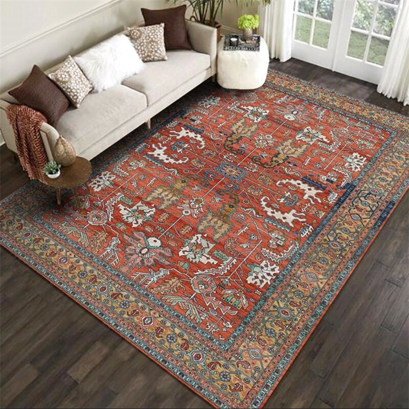 Retro Persian Ethnic Carpet And Rug For Living Room Sofa Table Non-Slip Floor Mats Bedroom Bedside Decor Parlor Kitchen Door Mat