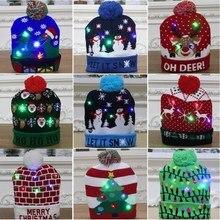 1 шт., вязаная зимняя шапка со светодиодами