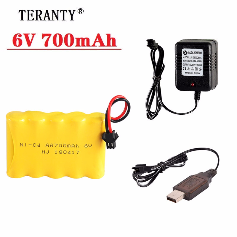 6v 700mAh Battery and Charger For RC Cars Robots Tanks Trucks Gun Boats 6v NiCD Battery Aa 700mah 6v Rechargeable Battery Pack image