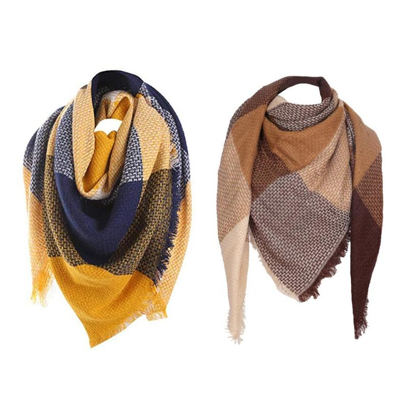 2019 New Woman Winter Scarf Knitted Plaid Warm Scarf Shawl Women's Wrap The Body Head Triangle Scarf Warm In Autumn Winter