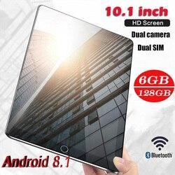Планшеты (Бесплатная доставка) Игровые планшеты Pad 4G-LTE Android 8,0 Bluetooth PC 6 + 128 Гб Две sim-карты Dengan GPS Ukuran: 10,1 дюйма