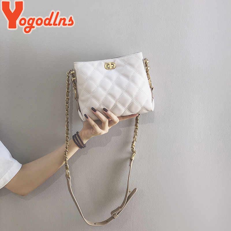 Yogodlns elmas kafes PU deri Crossbody çanta kadınlar için 2020 lüks zincir omuzdan askili çanta kadın kova çanta
