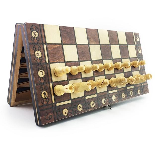 Super échiquier  magnétique en bois échecs 3 en 1 ! 2