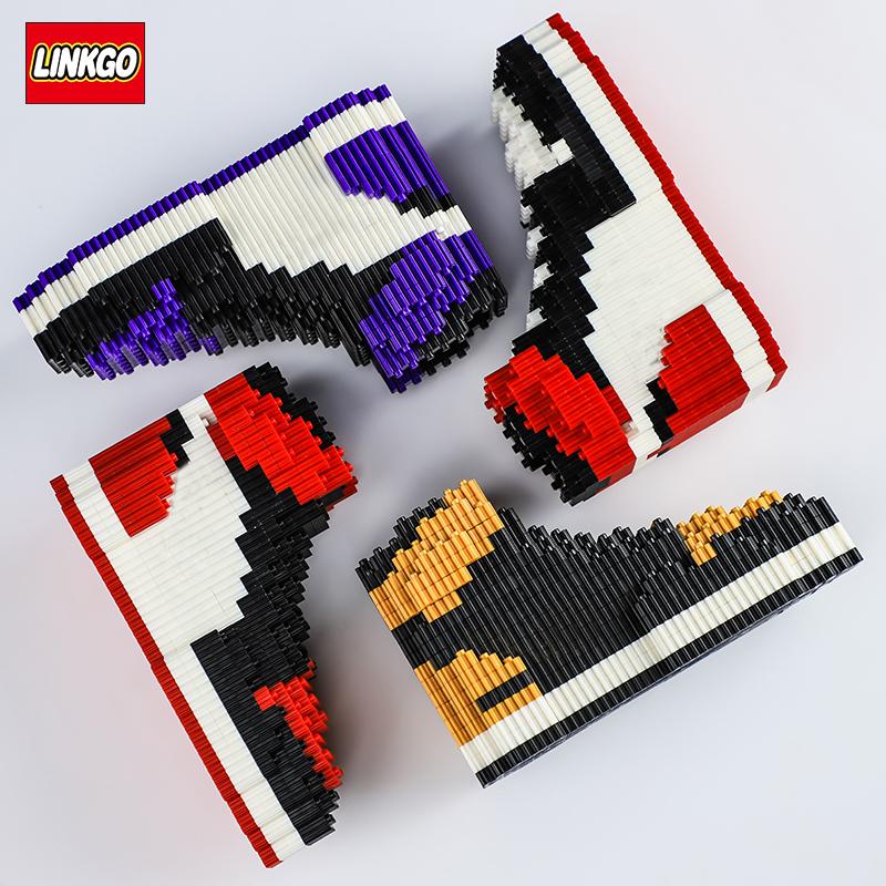 Linkgo Mini Building Block Basketball Shoes Model Legao AJ Sneakers Build bricks Set DIY Assembly For Kids Gifts Blocks Toy