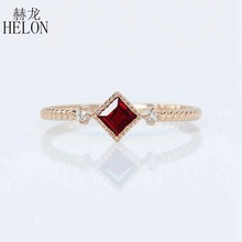 HELON Solid 14k Rose Gold AU585 0.2ct Natural Ruby and Diamonds Ring for Women Engagement Wedding Vintage Trendy Jewelry Ring(China)