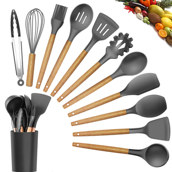 Best Silicone Cooking Utensil Set Wooden Handle Spatula Soup Spoon Brush Ladle Pasta Colander Non-stick Cookware Kitchen Tools 1
